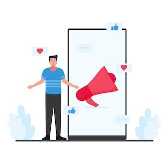 El hombre está parado al lado del teléfono con megáfono y al amor le gustan los iconos alrededor de la metáfora del marketing móvil.
