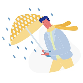 Hombre con paraguas caminando contra el viento y la lluvia