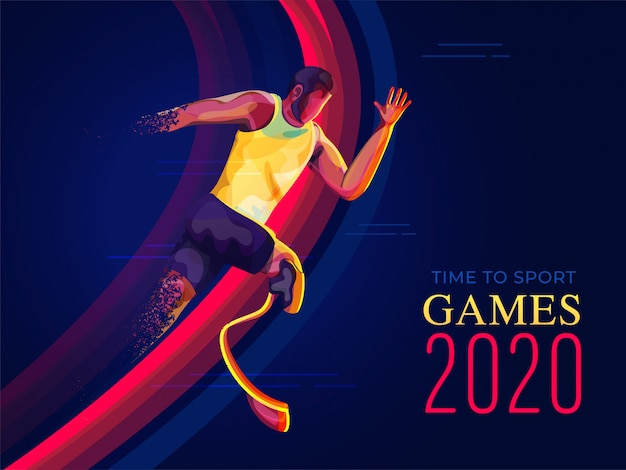 Hombre paralímpico de dibujos animados corriendo con efecto de dispersión fondo azul, juegos olímpicos 2020.