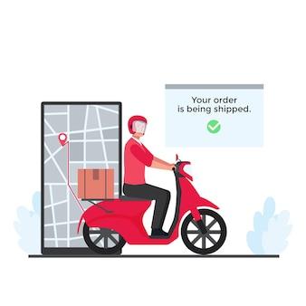 El hombre paseo en scooter con cajas entrega el paquete al destino en la metáfora telefónica de la entrega de seguimiento en línea