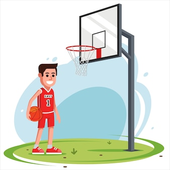 Un hombre en el patio juega baloncesto