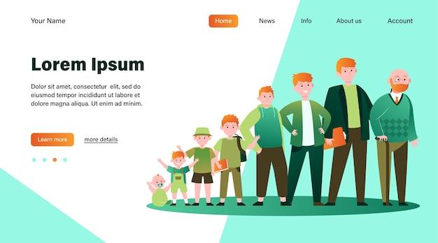Hombre pelirrojo en diferentes edades. adolescente, infancia, padre ilustración vectorial plana. ciclo de crecimiento y diseño de sitio web de concepto de generación o página web de destino