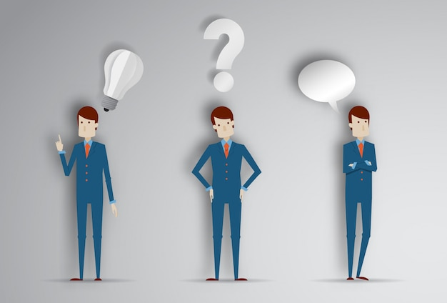Hombre de pensamiento con signo de interrogación y bombilla de idea. ilustración vectorial de dibujos animados de empresario en papel corte estilo 3d
