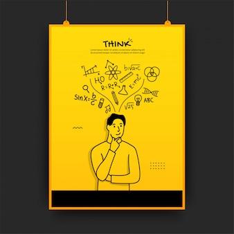 Hombre pensando con iconos de contorno sobre fondo amarillo, cartel de regreso a la escuela