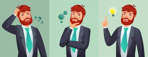 Hombre pensativo el hombre hace preguntas, duda o confunde y encuentra la respuesta a la pregunta ilustración de dibujos animados de decisión seria de pensamiento