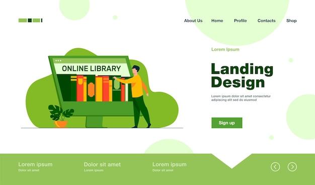 Hombre pequeño que elige el libro en la página de inicio de la biblioteca en línea en estilo plano