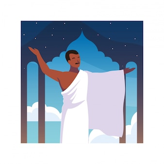 Hombre peregrino hajj de pie, día de dhul hijjah