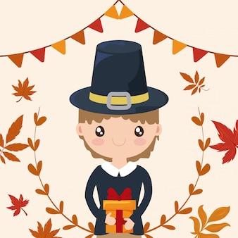 Hombre peregrinos, acción de gracias con hojas de otoño