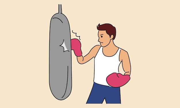 Hombre perforando el saco de arena