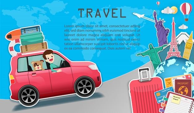 Hombre y perro en coche viajan en todo el mundo concepto.