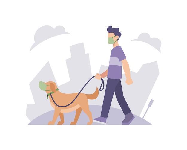Un hombre y un perro con una mascarilla con la ilustración del paisaje de fondo del edificio de la ciudad