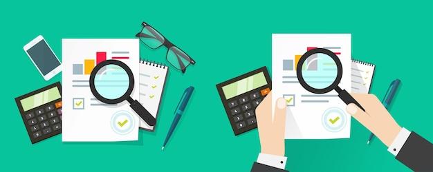 El hombre de la persona del auditor investiga o analiza el informe de ventas con las estadísticas del gráfico de ventas de la inspección de la revisión