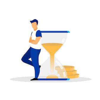 Hombre, persona, humano, banquero, empresario, hombre, adulto, apoyado en la ilustración de vector plano de reloj de arena. personaje de dibujos animados aislado plazo, puntualidad. gestión eficaz del tiempo.