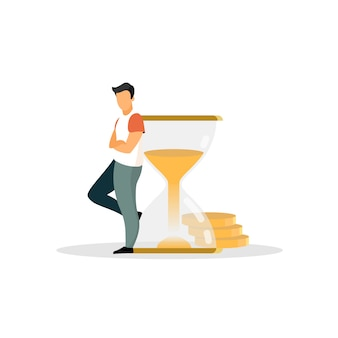 Hombre, persona, humano, empresario, hombre, ceo, adulto apoyándose en la ilustración de reloj de arena