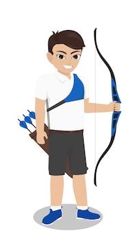 Hombre personaje archer con arco y flecha