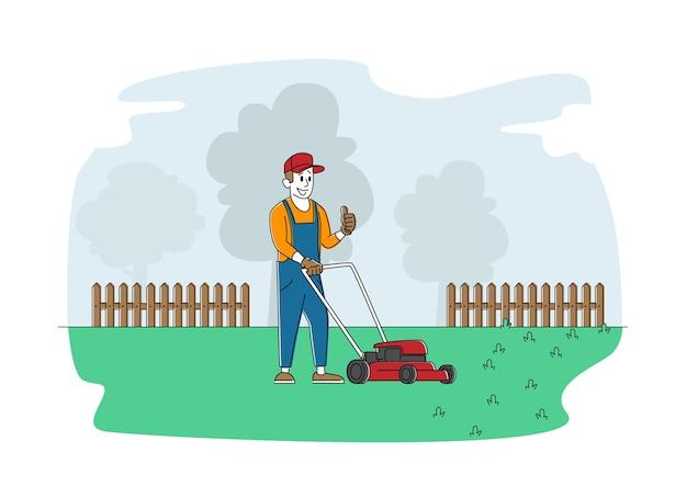 Hombre personaje cortar el césped en el jardín o parque público de la ciudad
