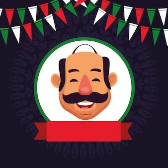 Hombre con personaje de dibujos animados avatar bigote