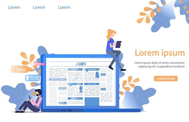 Hombre personaje llenar cv perfil formulario encontrar trabajo