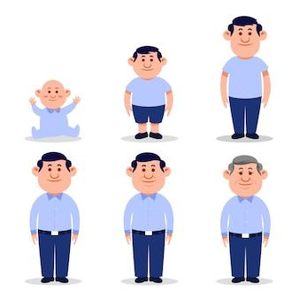 Hombre personaje plano en diferentes edades