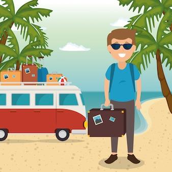 Hombre en el personaje de playa