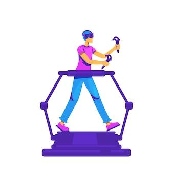 Hombre en personaje sin rostro de color plano de cinta de correr vr. tecnología innovadora para juegos. experiencia de realidad virtual aislado ilustración de dibujos animados