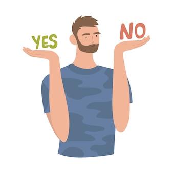El hombre pesa el concepto de decisiones. hombre tomando decisiones entre sí y no. guy decide, decisión difícil, concepto de dilema, solución de elección.