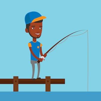 Hombre pescando en el embarcadero ilustración vectorial.