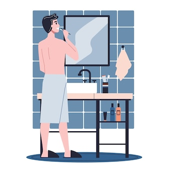 Hombre de pie en el baño y cepillarse los dientes. idea de salud e higiene. ilustración