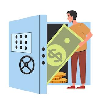 Hombre de pie en la caja fuerte del dinero. idea de depósito bancario