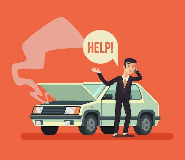 Hombre de pie cerca del coche roto y llamando, ilustración de dibujos animados plana