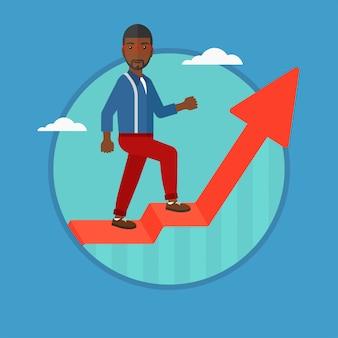 Hombre de pie en el levantamiento gráfico ilustración vectorial