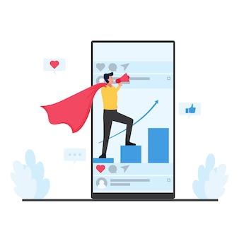 Hombre de pie sobre el gráfico sostenga la metáfora del megáfono del marketing móvil