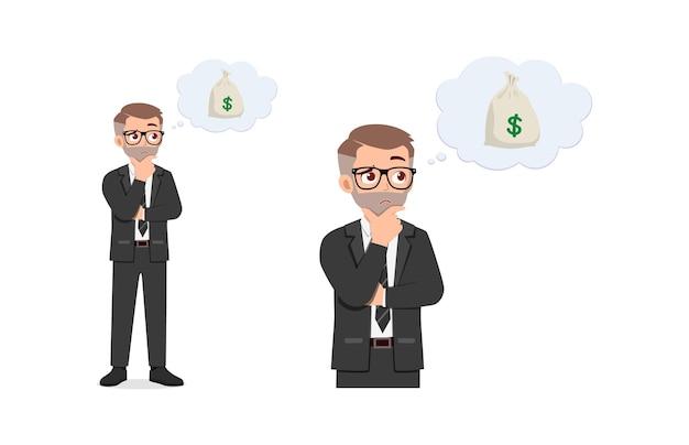 El hombre piensa en el dinero y la inversión futura.