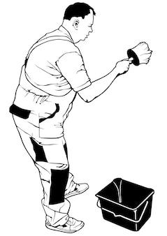 Hombre pintor con cubo y cepillo