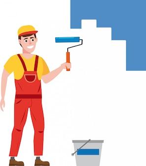 Hombre pintor pinta la pared está sosteniendo un rodillo de pintura en la mano