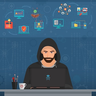 Hombre pirata informático hacking datos secretos