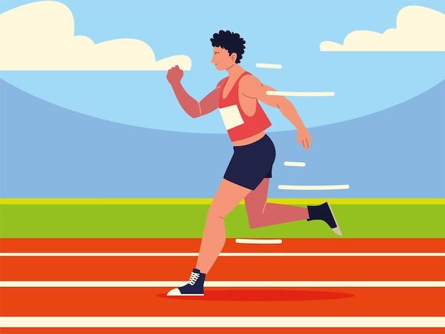 Hombre, en, pista de atletismo, deporte atlético