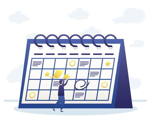 Hombre con planificación de calendario