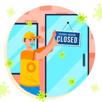 Hombre plano orgánico colgando un letrero cerrado