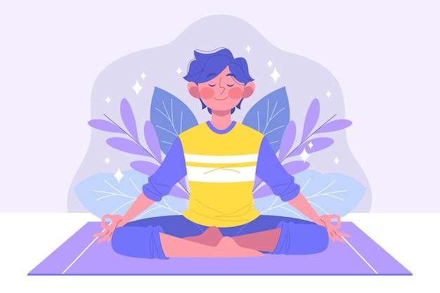 Hombre plano orgánico meditando