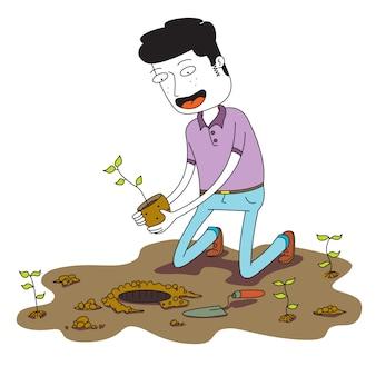 El hombre planta una pequeña planta en el suelo