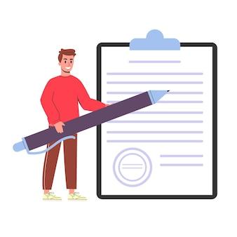 Hombre con una pluma de pie en la hoja de papel grande