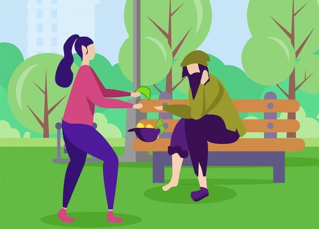 El hombre pobre y la mujer amable ayudan a apoyar la motivación
