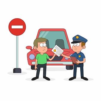 Hombre de la policía escribiendo una multa al conductor