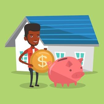 El hombre pone dinero en la hucha para comprar casa.