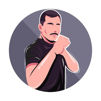 El hombre posa listo para luchar contra la ilustración vectorial plana