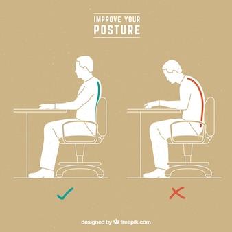 Hombre con posición correcta e incorrecta sentado
