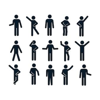 Hombre postura básica personas sentadas de pie icono pictograma de símbolo de signo.