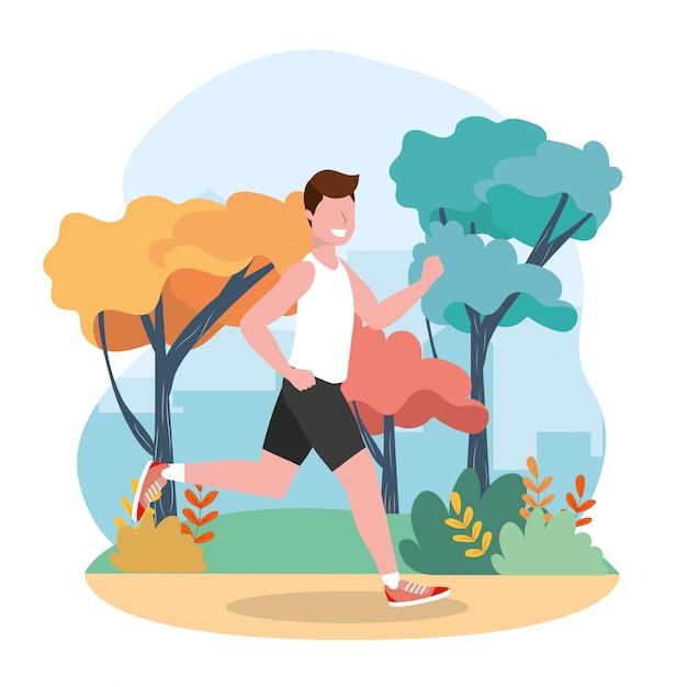 El hombre practica correr actividad de ejercicio