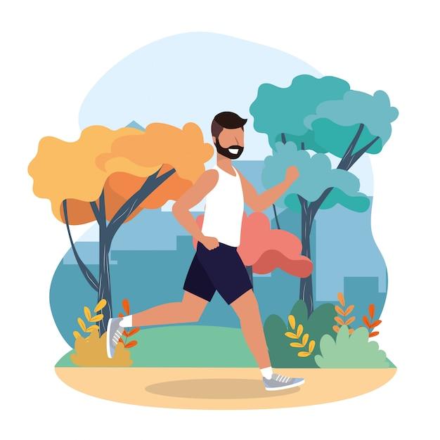 Hombre practica ejercicio y actividad de correr
